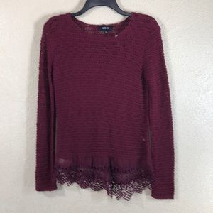 Active USA Knit Top Sweater NWOT Burgundy Red S